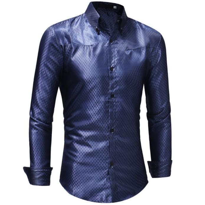 613187c5f0c3a Silk Shirt Men Satin Smooth Men Grid Shirt Business Chemise Homme Casual  Slim Fit Shiny Gold