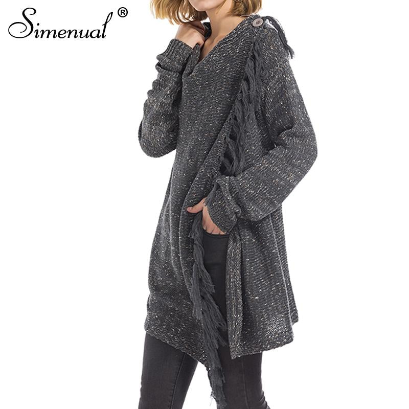 9a8214f7b6 Simenual Criss cross knitted cardigans for women fashion irregular slim  fringe long cardigan female winter sweater