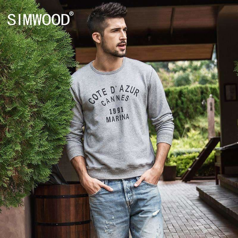 Simwood Spring New Hoodies Men Logo Letter Washed Sweatshirts Casual Plus Size Fashion Brand Clothing High Quality 180108 Apparel &