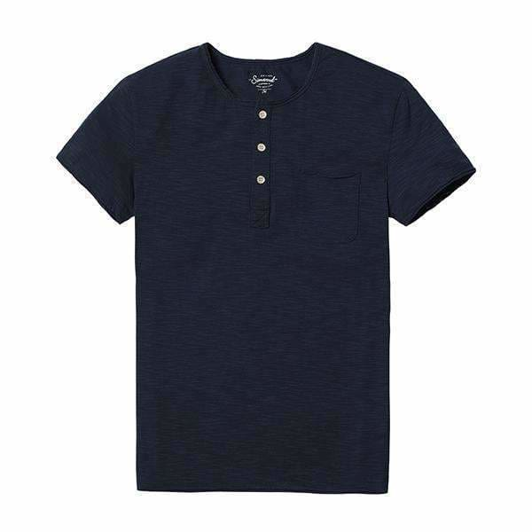 Simwood Summer New Casual T Shirts Men Henry Collar Curl Hem Solid Color Slim Fit Plus Size Tees Tops 5 Colors Td017008 Royal Blue / S