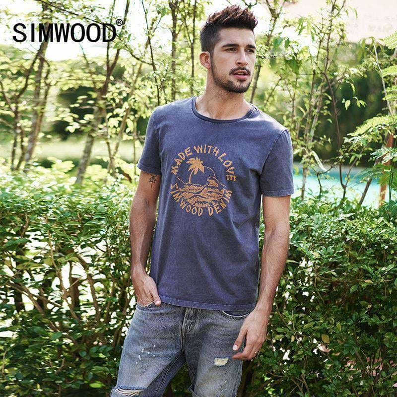 Simwood Summer T-Shirt Men 100% Pure Cotton O-Neck Slim Fit Fashion Tops Plus Size Tees Brand Clothing 180025 Apparel & Accessories >