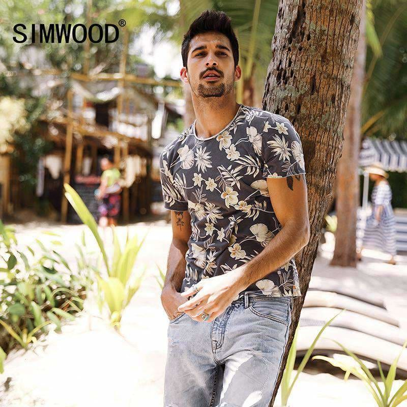 Simwood Summer T Shirt Mens Slim Fit 100% Pure Cotton Print Curl Hem Floral Clothing Plus Size Td017087 Mens > T-Shirts