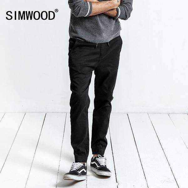 Simwood Winter New Joggers Cargo Pants Men Casual Elastic Waist Slim Fit Plus Size Cotton Harem Pants Xc017026 Black / S Apparel &