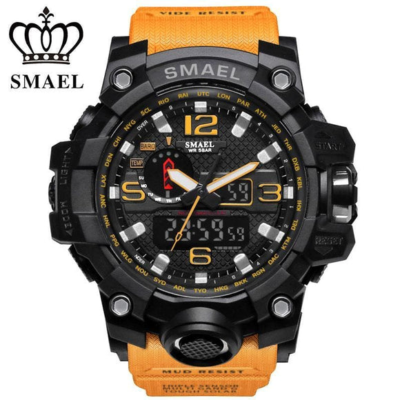 Smael Top Men Sport Watches Dual Display Led Digital Analog Chronograph Wrist Watch Swim Waterproof Man Clock Zodeys