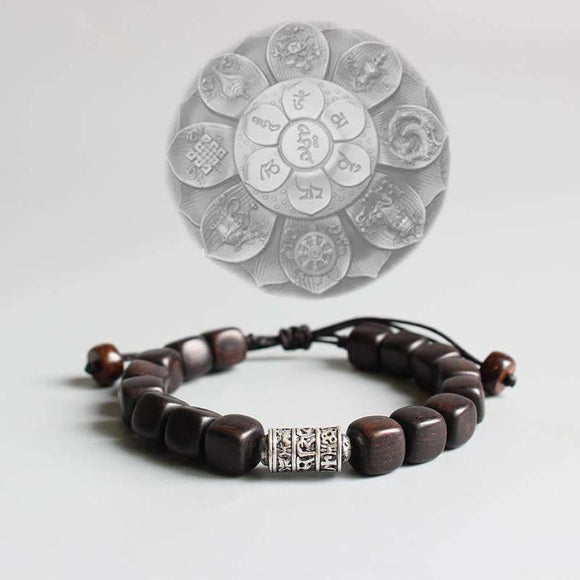 South African Sandalwood Om Mani Padme Hum Charm Bracelet Apparel & Accessories > Jewelry > Bracelets