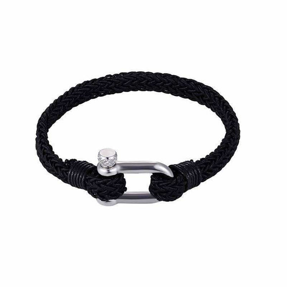 Sport Camping Parachute Cord Survival Bracelet Men With Stainless Steel Shackle Buckle Black Desire Shop