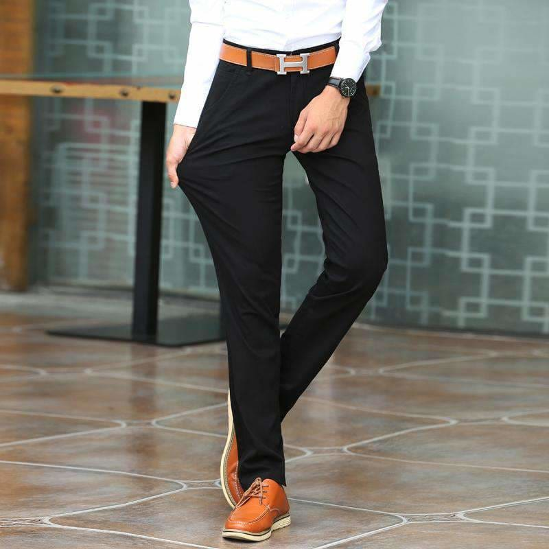 413afbe2aef1 Spring Summer Mens Classic Casual Pants Mens Business Dress Slim Fit  Elastic Jogger Stretch Long Trousers