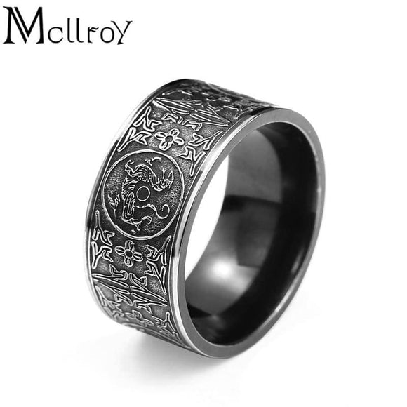 Stainless Steel Classic Rings Men Ring Four Corner Mythical Dragon Greek Symbols Retro Titanium Steel Gift Punk Aneis Viking Mcllroy