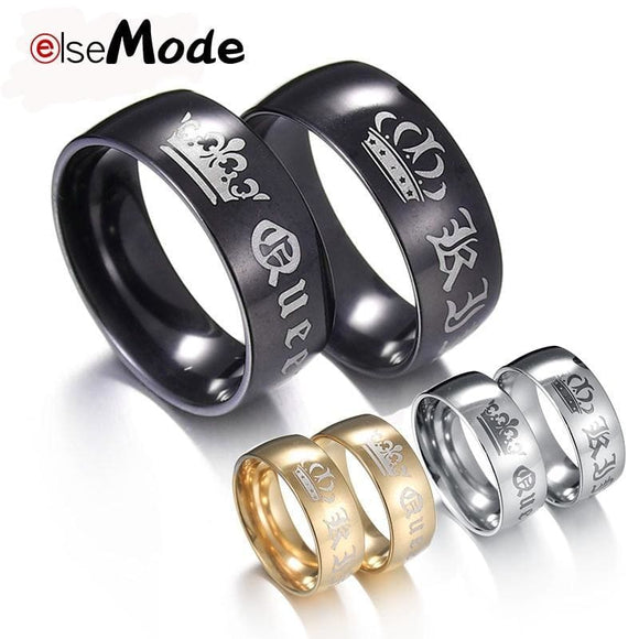 Stainless Steel Elsemode 1Piece Titanium Vintage King Queen Diy Engraved Couple Ring Romantic Engagement Wedding Rings For Men Women Jewelry