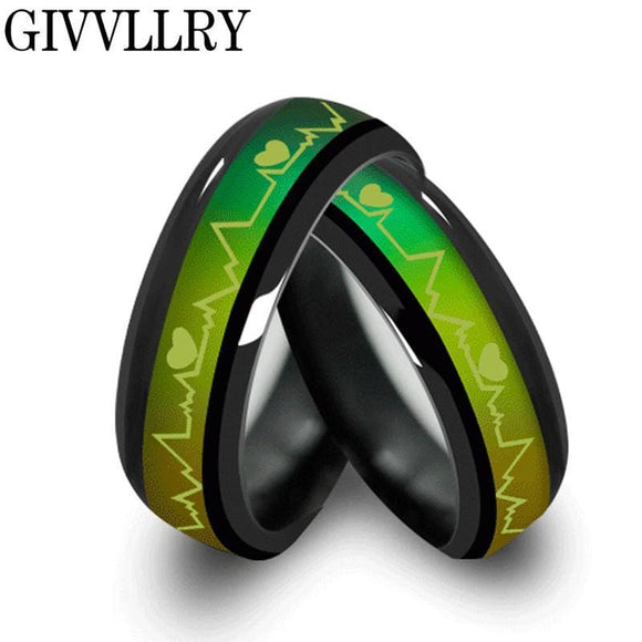 Stainless Steel Fashion Titanium Black Mood Rings Temperature Emotion Feeling Engagement Rings For Women Men Jewelry Promise Rings For