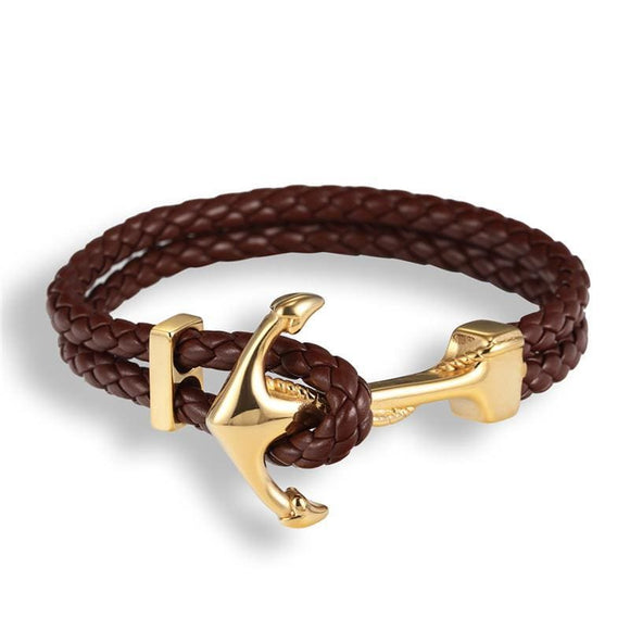 Stainless Steel Handmade Braided Vintage Leather Gold Anchor Bracelet Zodeys