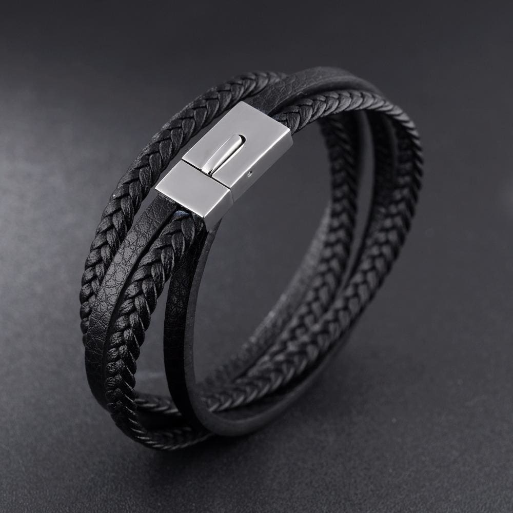 Stainless Steel Leather Cufflinks Style Bracelet J-Zyiong Store