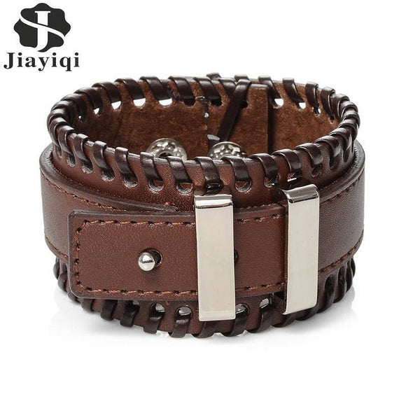 Stainless Steel Mens Jiayiqi Fashion Men Jewelry Black And Brown Wide Cuff Leather Bracelet Adjustable Handmade Vintage Punk Wristband