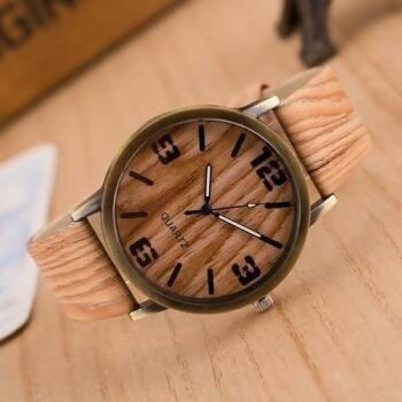 Stainless Steel New Design Vintage Wood Grain Watches For Mens Women Fashion Quartz Watch Faux Leather Unisex Casual Wristwatches Gift 4