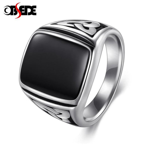 Stainless Steel Obsede Punk Titanium Steel Ring For Men Jewelry Flat Black Stone Valknut Signet Ring Odin Symbol Norse Viking Biker Ring