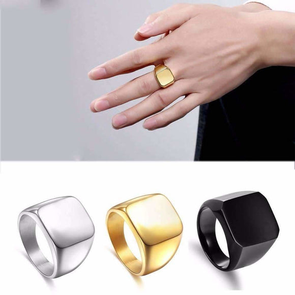 Stainless Steel Square Signet And Titanium Steel Rings For Men Trend Setter