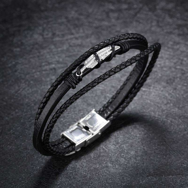 Stainless Steel Vintage Silver Feather Leather Bracelet Jiayiqi Official Store