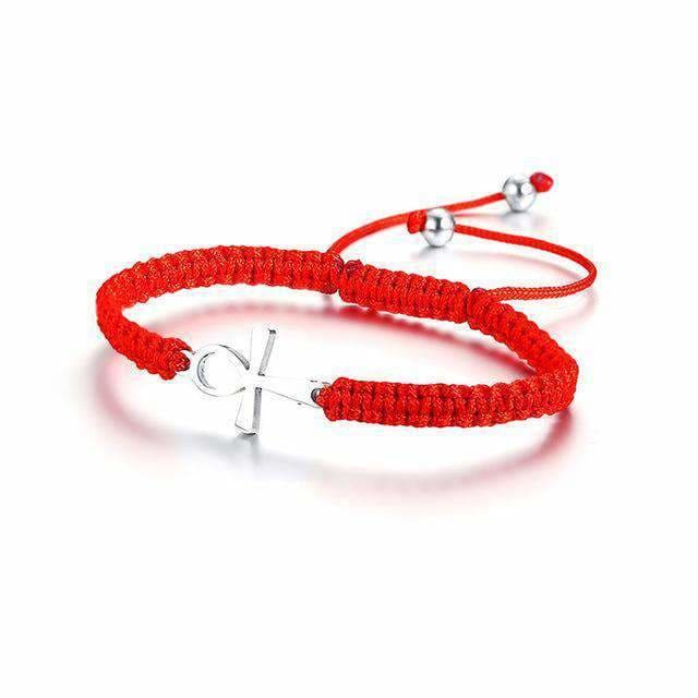 Stainless Steel Vnox Ankh Cross Red String Cord Kabbalah Bracelets For Women Success Protection And Lucky Link Chain Bracelet Size