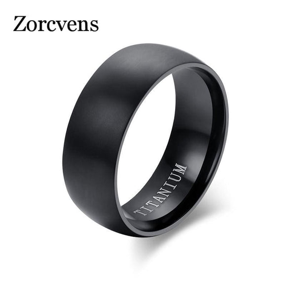 Stainless Steel Zorcvens Fashion Mens Black Titanium Ring Matte Finished Classic Engagement Anel Jewelry For Wedding Bands Zorcvens Official