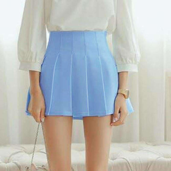 Summer American School Style Fashion Women Elegant Half Pleated Mini Skirts High Waist Casual Girls Skirts Women Leggings Skirt Apparel &