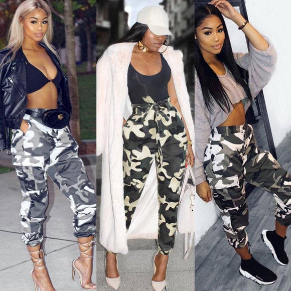 Summer Style Fashion Women Camo Cargo Trousers Casual Pants Military Army Combat Camouflage Jeans Zodeys