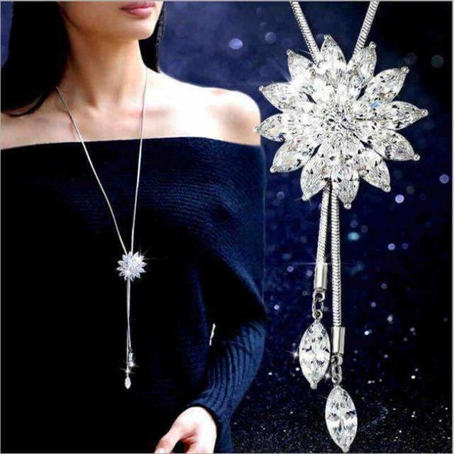 Super Cute Silver Swan Flower Pendant Necklace For Fashion Women White Flower Apparel & Accessories > Jewelry > Necklaces