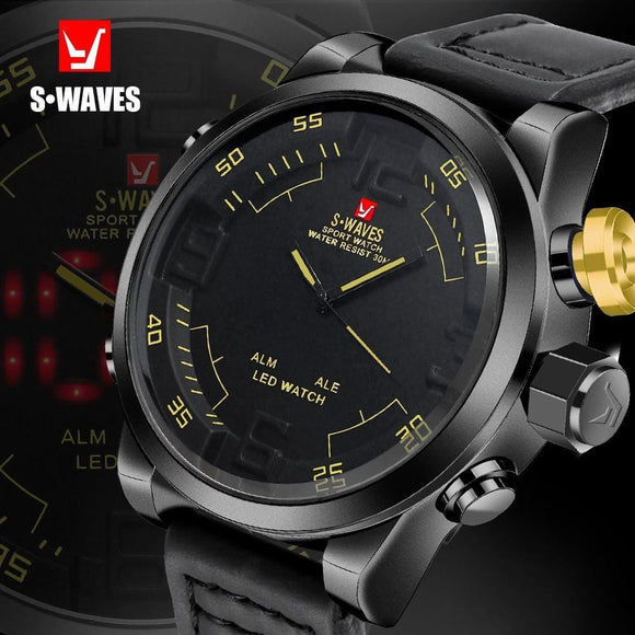 Swaves Dual Display Watch Luxury Men Waches Quartz Sport Waterproof Led Digital Watch Leather Band Clock Relogio For Men Zodeys