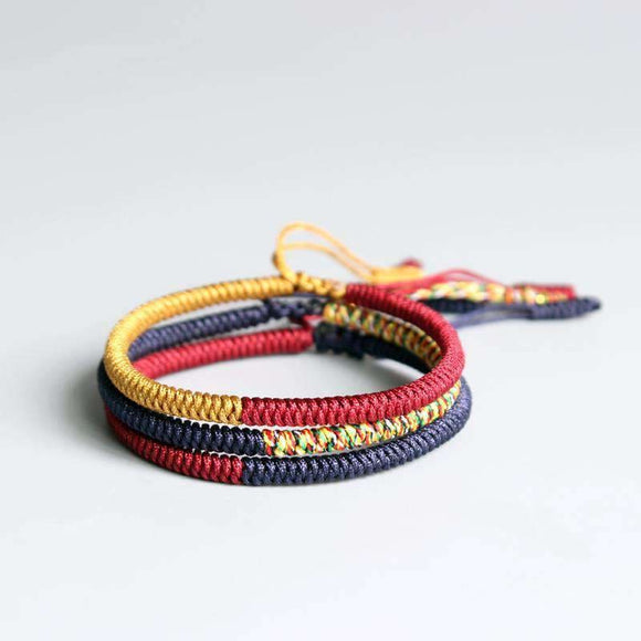 Tibetan Lucky Rope Lama Braided Knot Bracelet All 3 Bracelets (Bundle) Apparel & Accessories > Jewelry > Bracelets