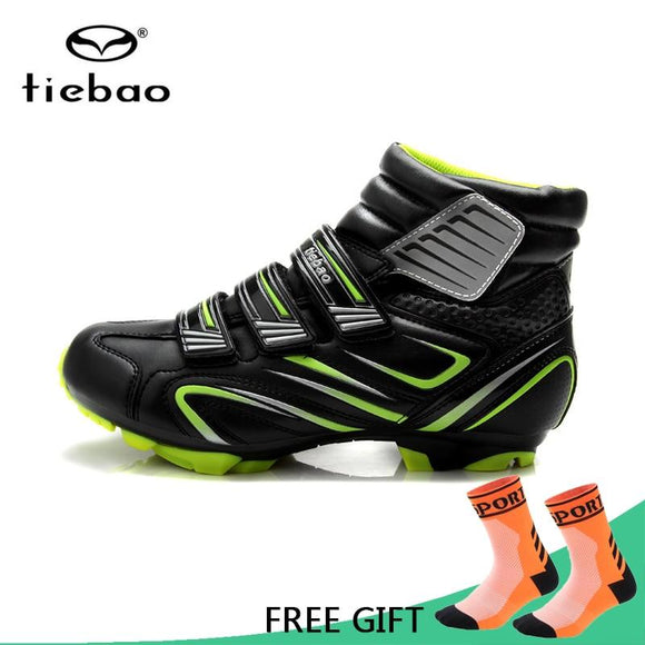 Tiebao Professional Winter Bicycle Cycling Shoes Men MTB Bike Racing Shoes Windproof Warm Athletic Self-Locking Ankle Boots-Boots-Zodeys-Green-10-Zodeys
