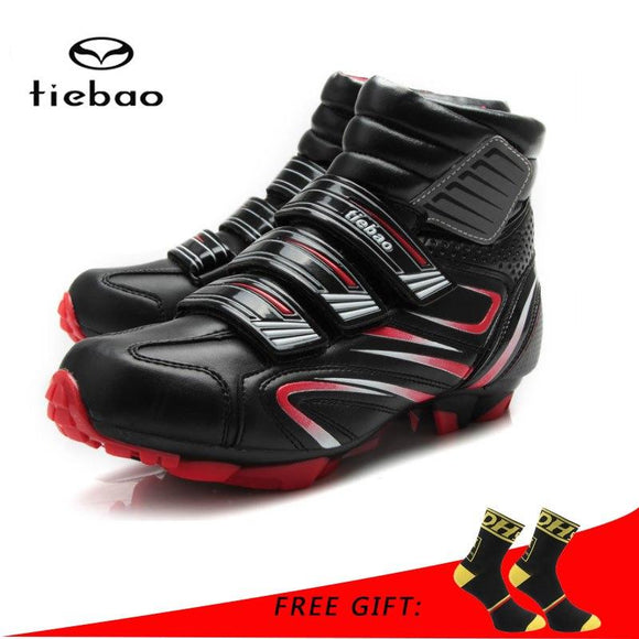 Tiebao Professional Winter Bicycle Cycling Shoes Women Men MTB Bike Shoes Windproof Warm Athletic Self-Locking Ankle Boots-Boots-Zodeys-Black Green-38-Zodeys