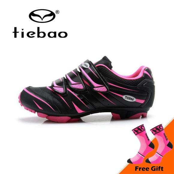 Tiebao Professional Women Mountain Bike Shoes Soft Breathable Cycling Shoes Non-slip MTB Bicycle Shoes Zapatos de ciclismo-Shoes-Zodeys-Black rosy red-4.5-Zodeys