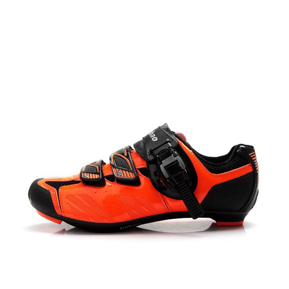 TIEBAO R1407 Outdoor Road Bike Shoes Black & Fluorescence Orange Bicycle Shoes Compatible SPD, SPD-SL, LOOK-KEO Cycling Shoes-Shoes-Zodeys-Black-10-Zodeys