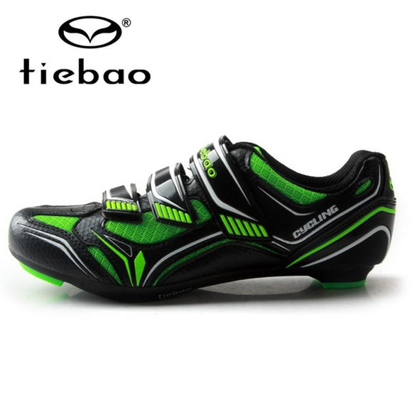 TIEBAO Unisex Breathable Cycling Shoes Self-locking Road Bike Shoes Bicycle Shoes Sapatilha Ciclismo Cycling Shoes SPD Road-Shoes-Zodeys-Black with green-40-Zodeys