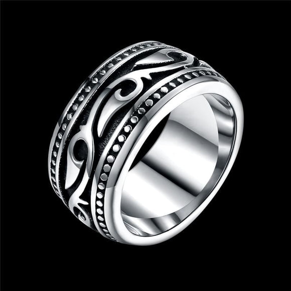 Titanium Stainless Steel Mens Ring Vintage Geomeric Ring For Men Wedding Jewelry Silver Color Vintage Dately Men Ring Daizhenfu Jewelry