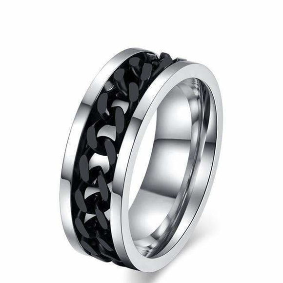 Titanium Steel Ring With Black Rotating Chain 6 / Black Jewelry & Accessories > Rings