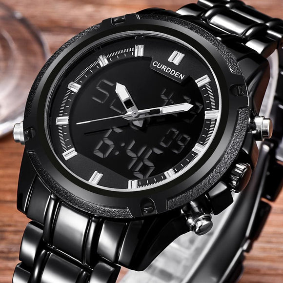 Top Luxury Dual Display Mens Military Waterproof Led Sport Quartz Digital Watches Mens Clock Wrist Watch Relogio For Men Black Zodeys