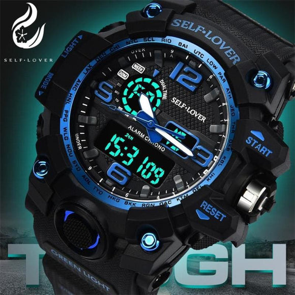 Top Men Sports Watches Dual Display Analog Digital Led Electronic Quartz Wristwatches Waterproof Swimming Military Watch Gold Blue Zodeys