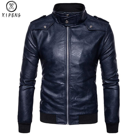 Top Quality Casual Mens Motorcycle Leather Jacket Fashion Man Pu Leather Jacket Solid Color Mandarin Collar Jacket Blue Zodeys