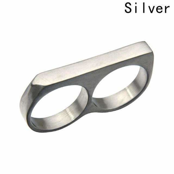 Two Fingers Knuckles Stainless Steel Titanium Ring 9 / Sv Mens > Jewelry & Accessories > Rings