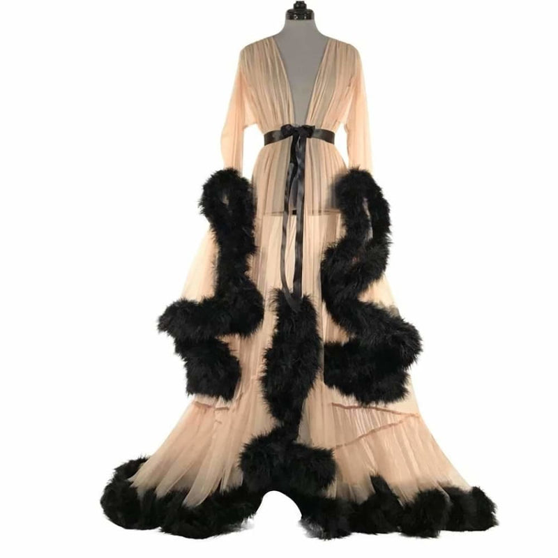 ab3bed072128 Unique Women See Through Sexy Lace Long Maxi Dress Fluffy Feather Mesh Perspective  Party Floor Length