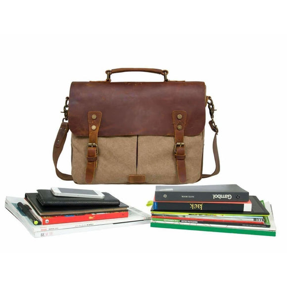 Unisex Vintage Canvas Leather 14 Laptop Messenger Bag Luggage & Bags > Messenger Bags