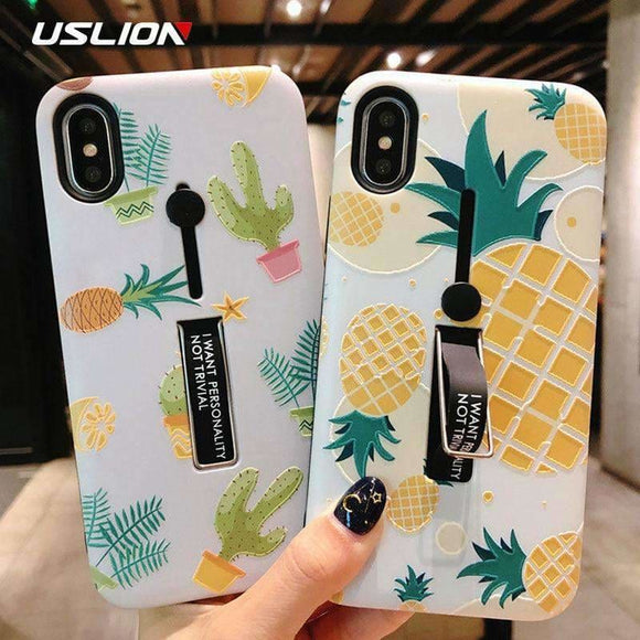 Uslion Hide Ring Stand Holder Case For Iphone 7 8 6 6S Plus Pineapple Strawberry Cactus Phone Cases For Iphone X Pc Back Cover Uslion