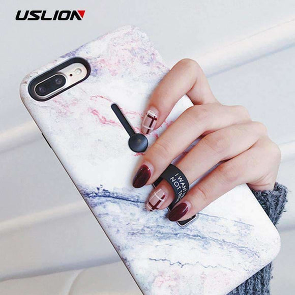 Uslion Marble Soft Silicon Case For Iphone 7 Plus Hide Ring Stand Holder Phone Cases For Iphone X 8 7 6 6S Plus Tpu Back Cover Uslion