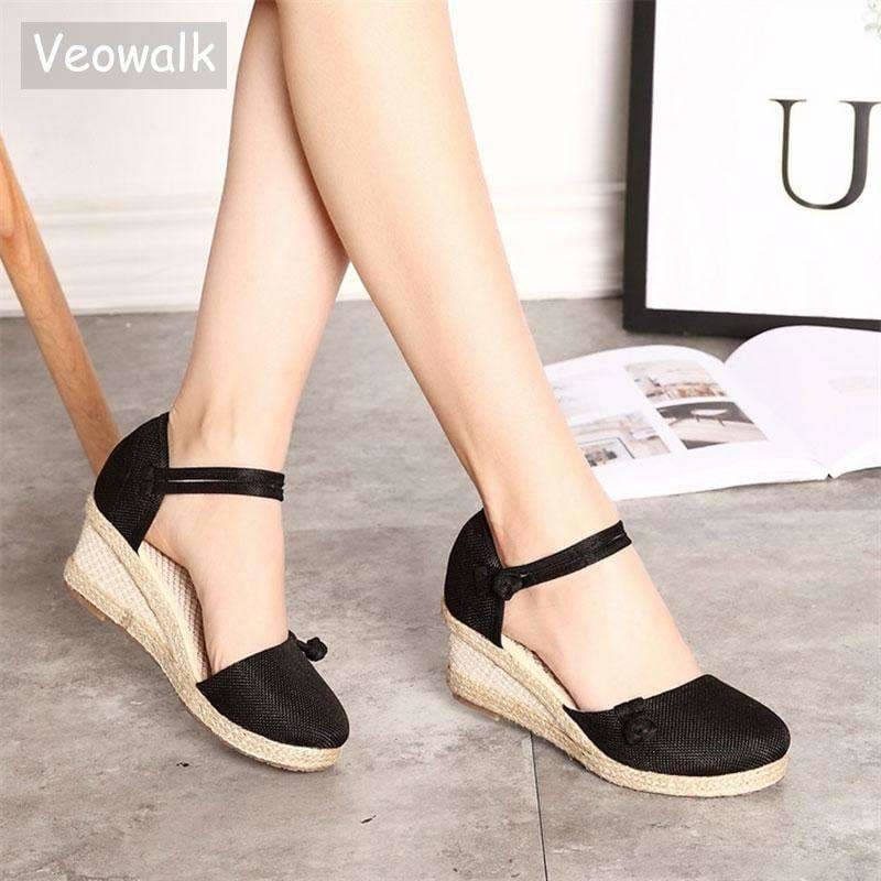 9c67ba53d614 Veowalk Vintage Women Sandals Casual Linen Canvas Wedge Sandals Summer  Ankle Strap Med Heel Platform Pump
