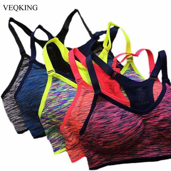 Veqking Quick Dry Sports Bra Women Padded Wirefree Adjustable Shakeproof Fitness Underwear Push Up Seamless Yoga Running Tops Apparel &