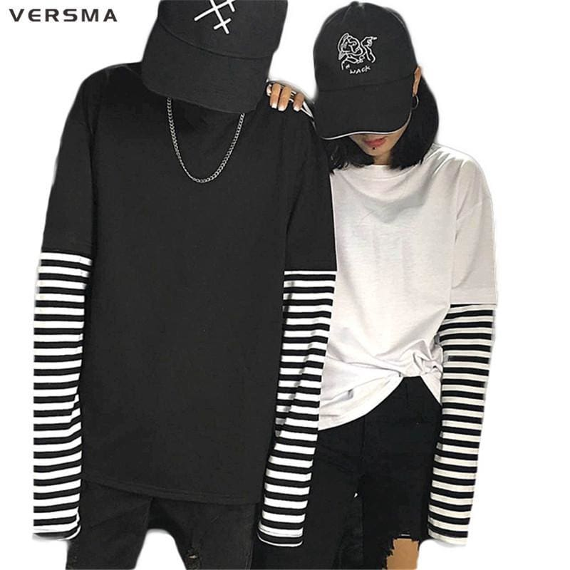 Versma Korean Black White Striped Hip Hop T Shirts Men Women Autumn