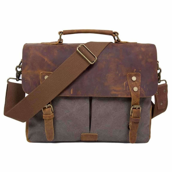 Vintage Canvas Leather 14 Laptop Messenger Bag Luggage & Bags > Messenger Bags