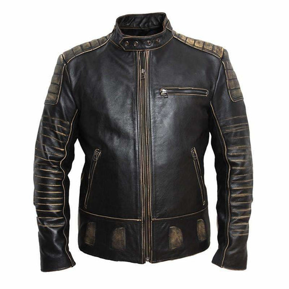 Vintage Retro Motorcycle Black Genuine Leather Jacket Men Apparel & Accessories > Clothing > Outerwear > Coats & Jackets > Leather Jackets