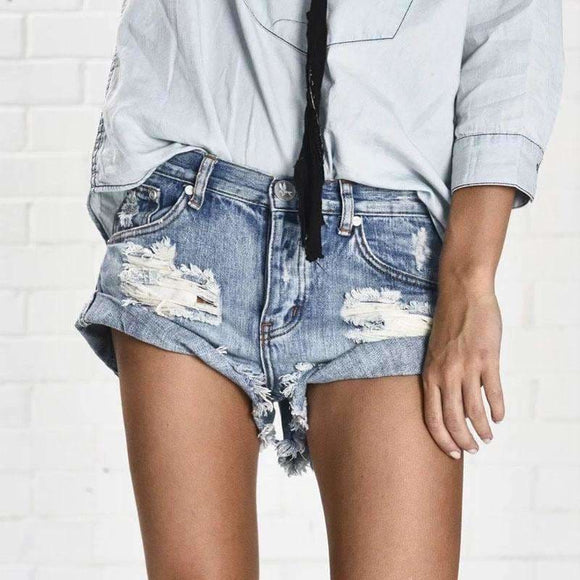 Vintage Ripped Hole Fringe Denim Thong Shorts Women Sexy Pocket One Teaspoon Jeans Shorts Summer Girl Hot Denim Booty Short Apparel &