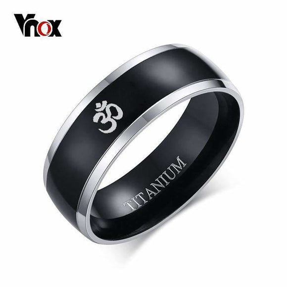 Vnox 8Mm Aum Om Black Ring For Men Titanium Casual Simple Male Accessories Religious Faith Jewelry Mens > Jewelry & Accessories > Rings